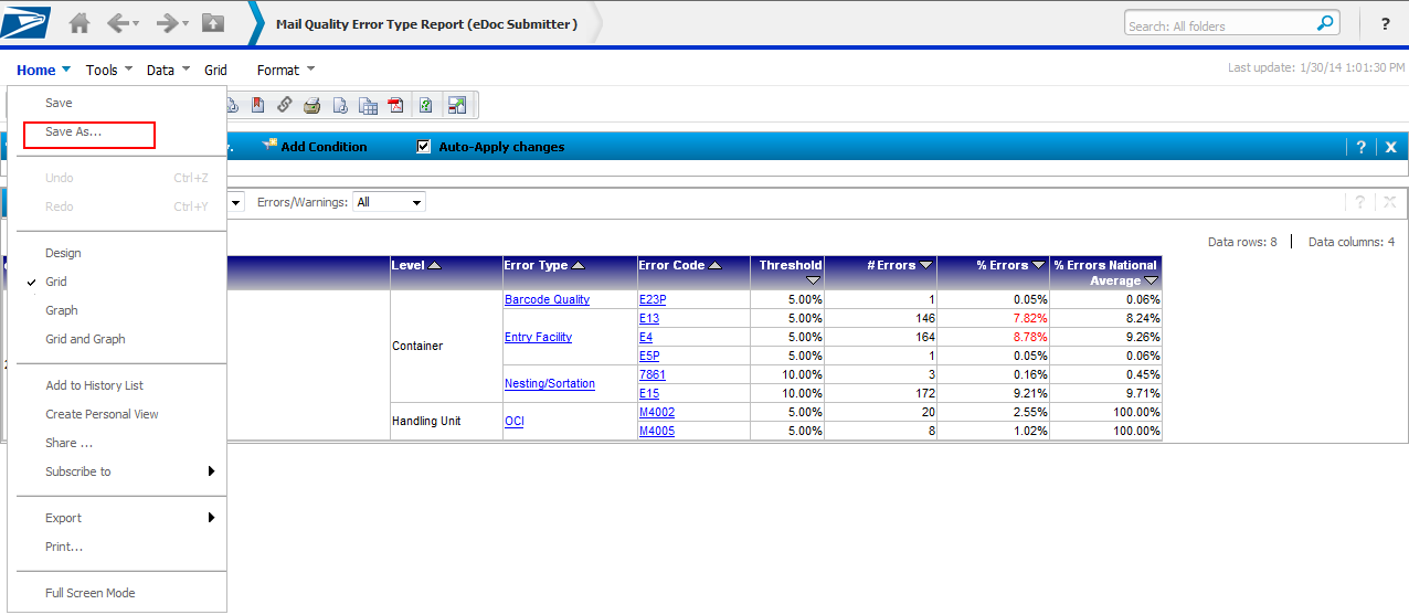 19. After you have removed columns/rows you are not interested in, you can save the report.