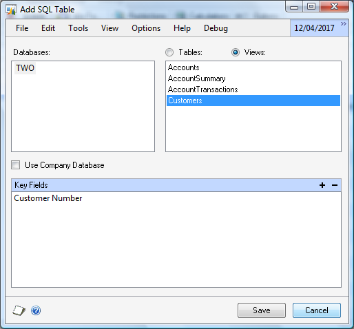 To add a SQL Server table as the main table: 1. Select SQL Server Table from the Add button above the Tables list to open the Add SQL Table window. 2. Select the Database and Table.