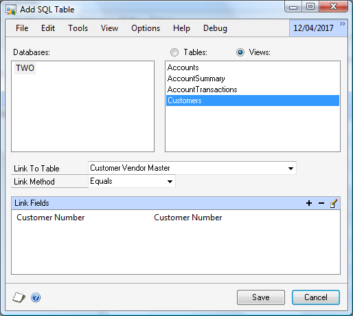 To add an additional SQL Server table: 1. Select SQL Server Table from the Add button above the Tables list to open the Add SQL Table window. 2. Select the Database and Table.