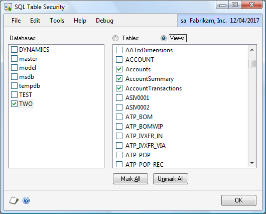 SQL Table Security You can restrict which SQL Server databases and tables or views can be used as a table in SmartList Builder.