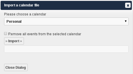 Figure 5.18: Exporting calendar Importing Events Figure 5.19: Importing events You can import your calendar as an ical file using the Files app.