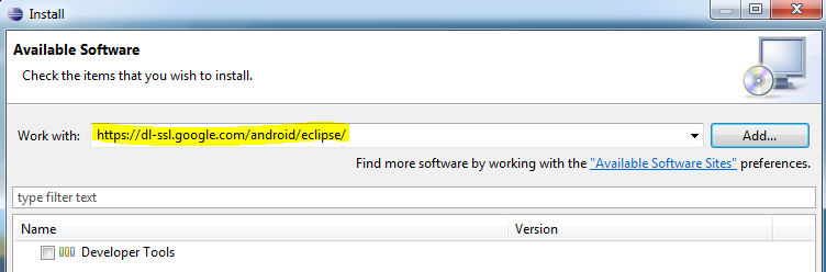4.3 Install ADT plugin for eclipse 1. Open Eclipse and go to Help->Install new Software. 2. Enter https://dl-ssl.google.com/android/eclipse/ in the Work with box. Figure 3.