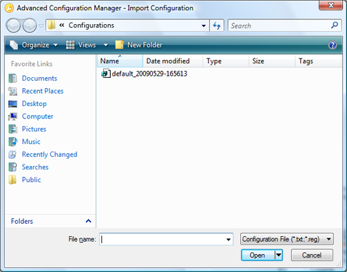 ActivClient for Windows Administration Guide P 84 Import/Export ActivClient Configurations Import a Configuration By importing a configuration file, you can update several or all of the local