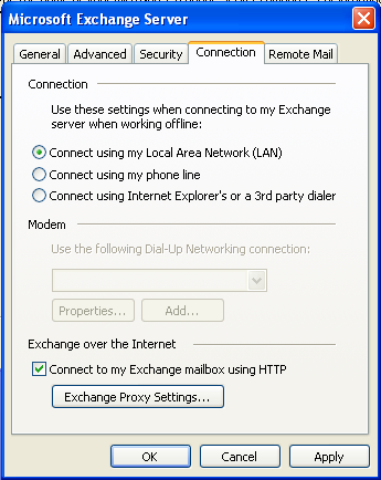 Select the Security tab and tick the Encrypt data between Microsoft Outlook and Microsoft Exchange checkbox. Click the Connection tab.