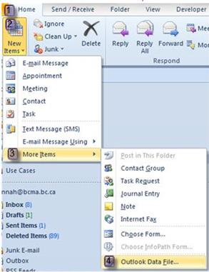 How to Set Up an Archive (pst) File Outlook 2010 From the Home menu, select