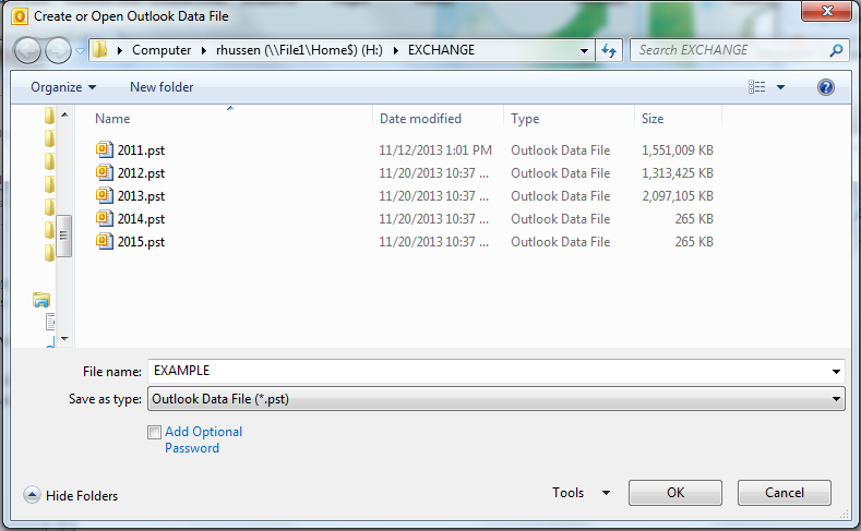 In the Create or Open Outlook Data File window, type the desire name into the