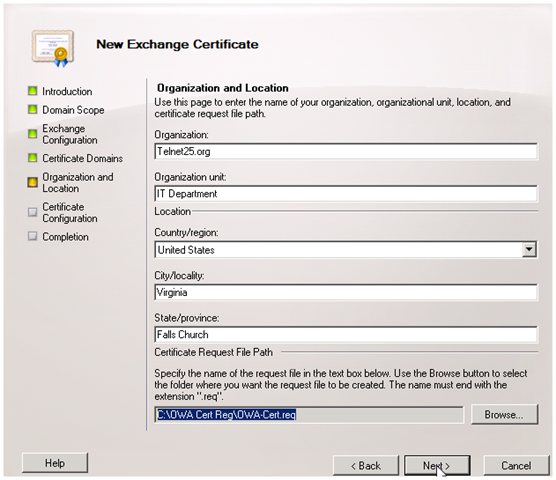 Figure 3.8: Setting the server s common name. In Figure 3.