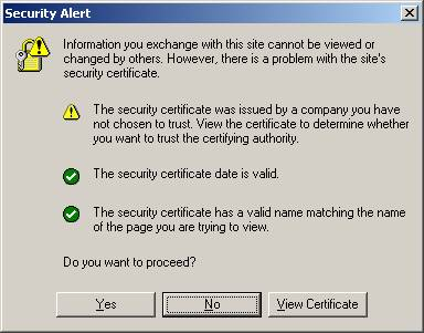 Figure 3.14: Browser certificate warning. What s more, train them out of the no news is good news mentality.