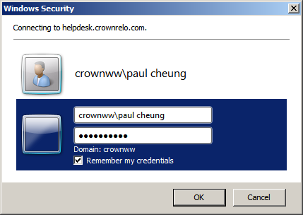 Helpdesk User Guide Page 10 When prompted for login, ensure the login name is pre-fix with CROWNWW\.