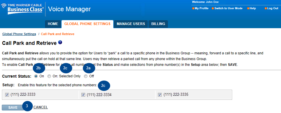 2. The Call Park and Retrieve page appears with additional information such as the Current Status and instructions regarding the feature. You can: a.