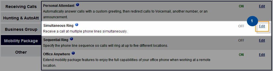 Mobility Features under the Mobility section allow you to configure settings that allow flexibility in location when taking and placing calls. To edit any feature, click Edit next to the feature.
