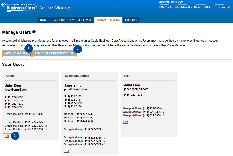 Set Up and Manage Users and/or a Second Administrator Voice Manager Administrators are able to provide access to Voice Manager for their company employees so they can manage their own phone settings.