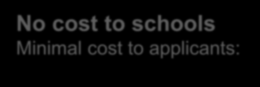 No cost to schools Minimal cost to applicants: