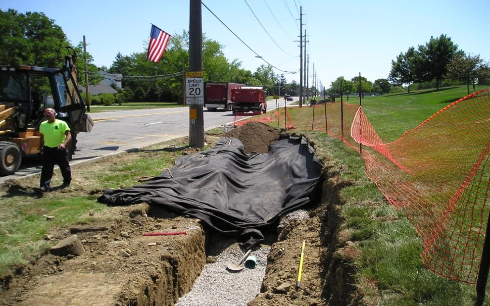 Pepper Pike Retrofit Project Modify existing drainage swale and install bioretention in residential & public areas.
