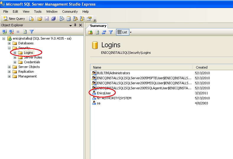 Disabling the default account EnicqUser Now you should disable the default SQL user account named EnicqUser.