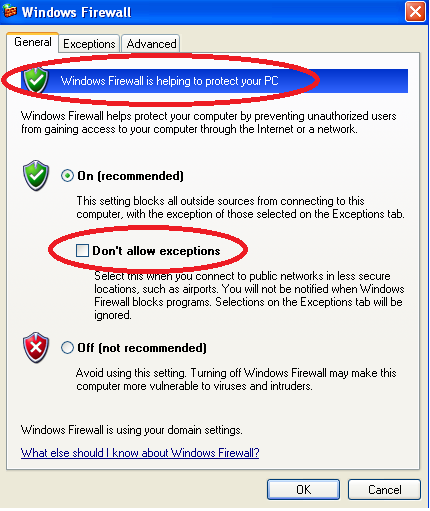 Windows XP: Configuring Your Firewall By default, the Windows 7 Firewall will allow communication to Vermont Oxford Network s web servers.