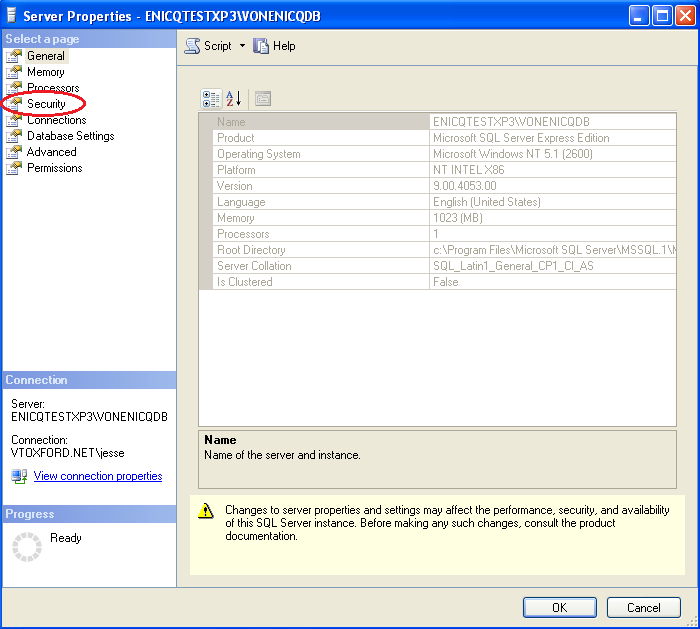 Right-click on the database server (circled in red below), and select Properties.