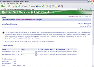 15 5. Make sure the term selected in the drop-down box is correct (Fall 2006). 6. Click Submit. 7. Type one Course Reference Number (CRN) into each field.
