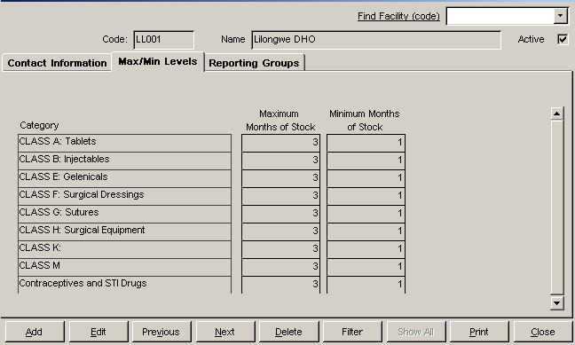 SUPPLY CHAIN MANAGER USER S MANUAL The Max/Mi Levels tab (if eabled) lets each facility i your system defie a maximum ad miimum stock level for each product category. 13. Click the Max/Mi Levels tab.