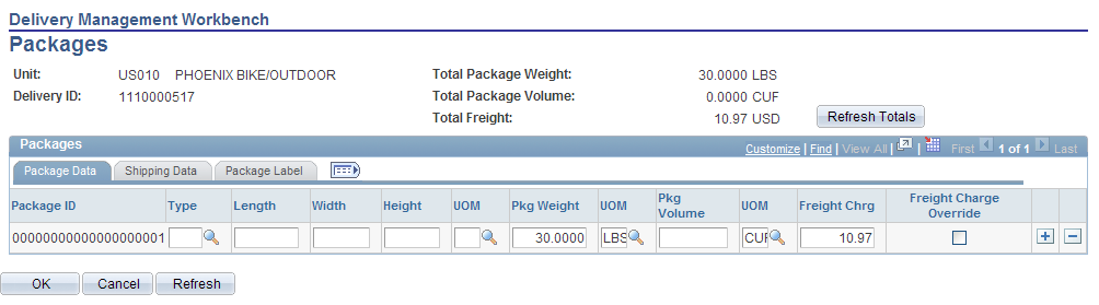 Chapter 5 Using Delivery Management and Freight Calculations Using the Delivery Management Workbench- Packages Page Access the Delivery Management Workbench- Packages page (Click the Maintain