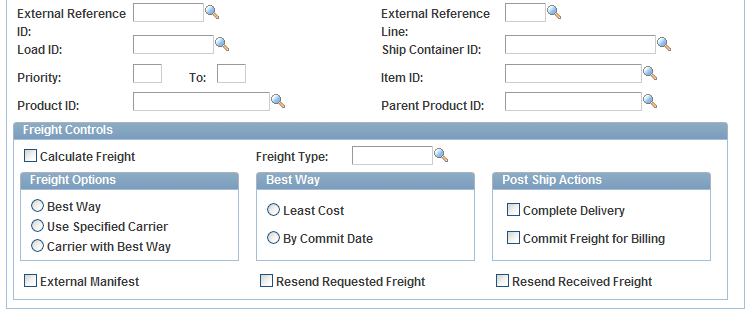 Chapter 5 Using Delivery Management and Freight Calculations The Process Deliveries/Freight process page in