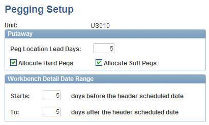 Pegging Supply and Demand Chapter 6 Pegging Setup page Unit Enter the Inventory business unit. Peg Location Lead Days Enter the number of lead days for pegged items in this inventory business unit.
