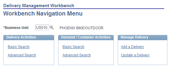 Using Delivery Management and Freight Calculations Chapter 5 Page Name Definition Name Navigation Usage Delivery Management Workbench- Packages IN_DLV_PACKAGES_SP Click the Maintain Packages link on