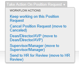 Position Request Summary This is a summary view of the action. If any information is incomplete there will be an orange next to the section title.