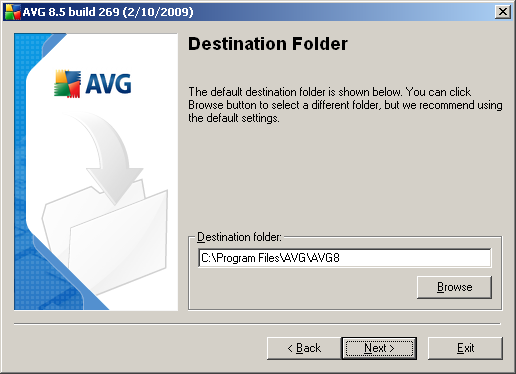 3.6. Custom Installation - Destination Folder The Destination folder dialog allows you to specify the location where AVG should be installed.