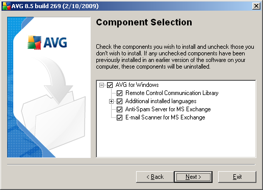 3.7. Custom Installation - Component Selection The Component Selection dialog displays an overview of all AVG components that can be installed.