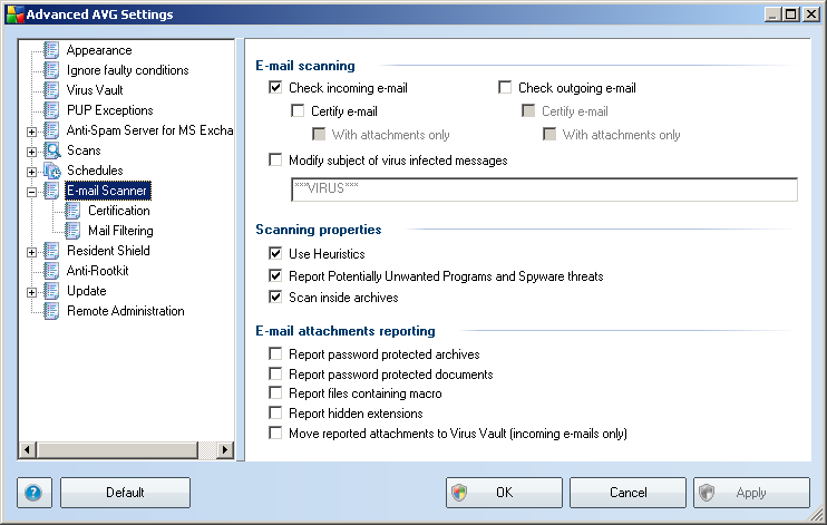 9. E-mail Scanner The E-mail Scanner settings are configured from within the AVG E-mail Server Edition. From the application's main menu select Tools/Advanced Settings.