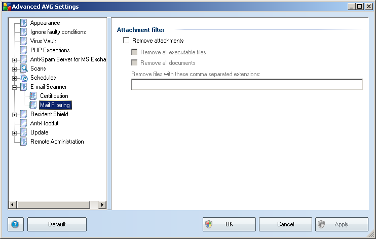 9.2. Mail Filtering The Attachment filter dialog allows you to set up parameters for e-mail messages attachment scanning. By default, the Remove attachments option is switched off.
