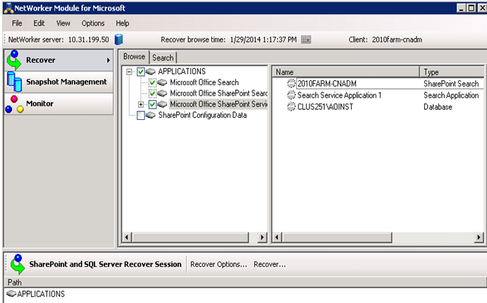 Microsoft SharePoint Server Backup and Recovery Examples Figure 29 Select SharePoint Service Writer 9. Click Recover.