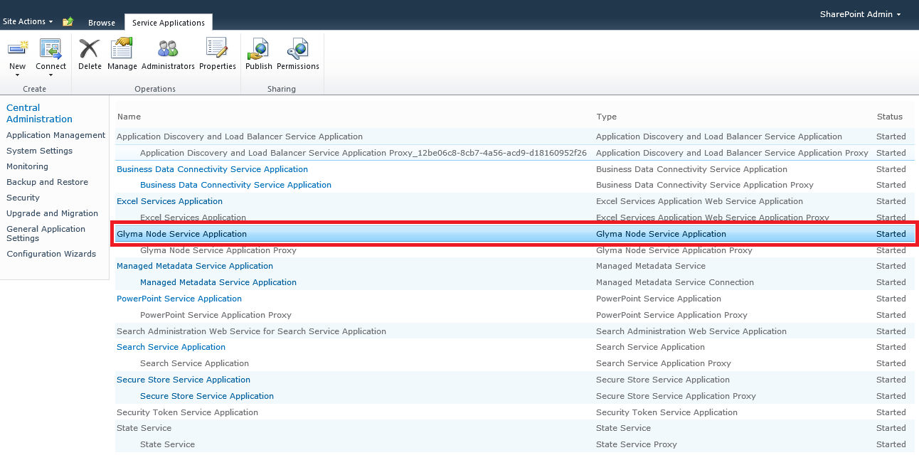 1. On the main Central Administration page, go to Manage service application under Application Management. 2.