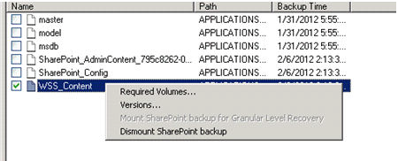 Figure 72 Mount SharePoint backup for Granular Level Recovery option Although only a single content database can be selected and mounted at a time, multiple databases are displayed as mounted on the