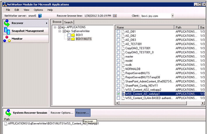 SharePoint Server 2010 Recovery Examples 3. On the remote SQL Server host: a. Open the NMM GUI. b.