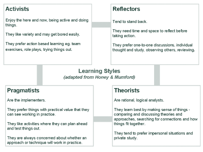 Learning Styles Below are Honey & Mumford s learning styles, which describe an individual s preferences for learning. It is important to note that no learning style is better than another.