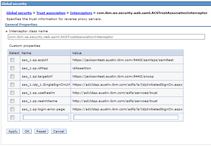 Example TAI properties WebSphere