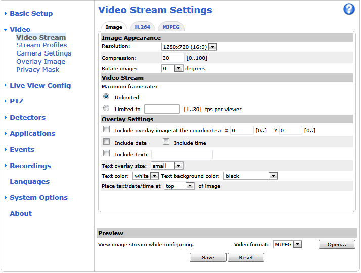 Video Video It is possible to configure the following video features in your Axis product: Video stream. See page 19. Stream profiles. See page 21. Camera settings. See page 21. Overlay image.