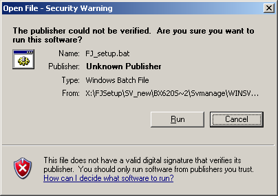 2.3 Installation 4 Click [OK]. The [ServerView Hints] window appears. 5 Click [OK]. The following security warning may be displayed.