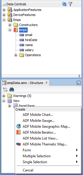 ADF Binding Simplify UI Creation Drag and drop service components to create UI components Drag data