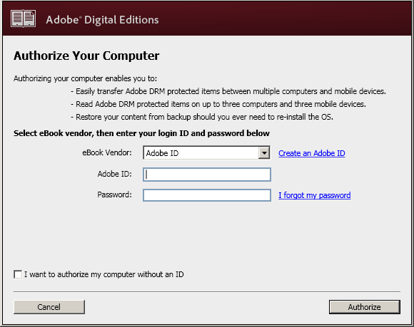 Step 1: Download and install Adobe Digital Editions... Cont.. At the first pop up box, click the check box to accept the terms of the License Agreement then click Next.