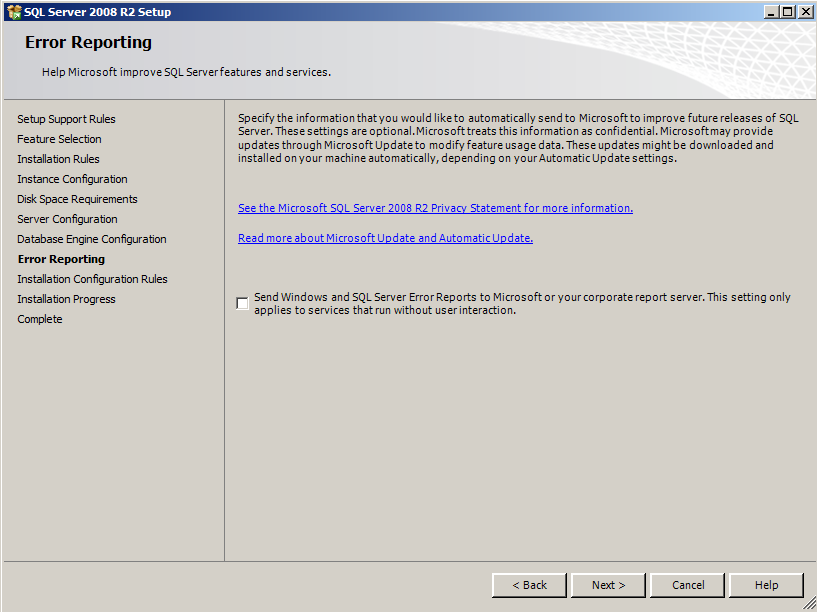 9) Select Windows authentication mode on the Database Engine Configuration screen.