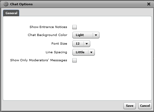 Chat Options This section covers the various options that exist for the following roles: 1. Presenter Role 2.