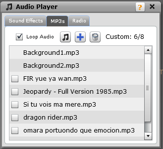 Music Player You can play sound effects from a pre-populated list of files here.