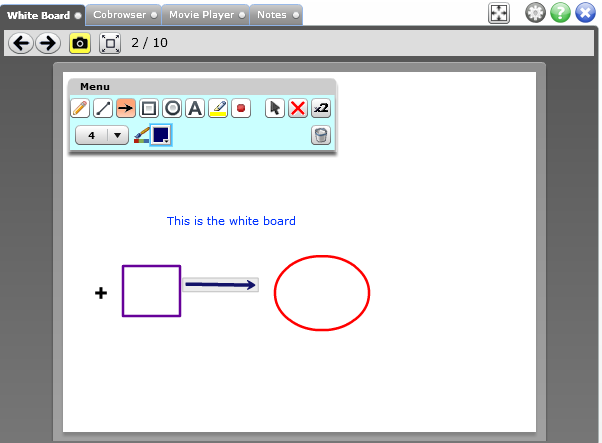 White Board You have 10 boards that you can use. Access them using the forward and back arrows. The white board works similar to the paint program in the Windows operating system.