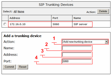 SIP Server Address SIP Server Port. Submit Action Name. Address Port. Commit Dial Rules Configuring the VBP SIP Voice Settings -> SIP 1. Set the to your SIP provider s IP address or FQDN. (1) 2.