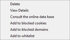 Cookie treatment Once you have selected a particular cookie or set of cookies, you are then able to perform any of the actions on the list below as an alternative to using the buttons described