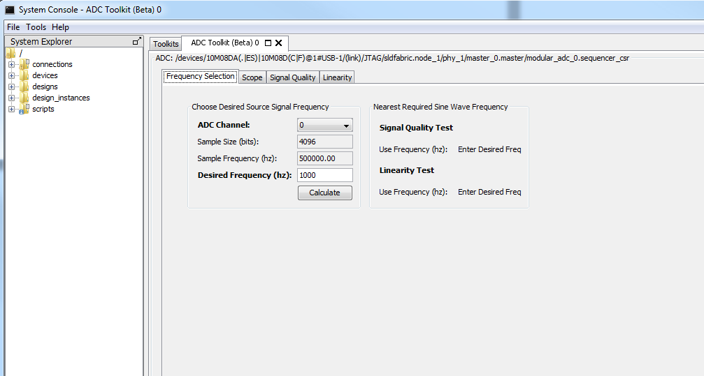 10-30 Frequency Selection Figure 10-9: ADC Toolkit GUI QII5V3 2015.05.04 Using the ADC Toolkit in MAX 10 Devices online training This training focuses on the ADC Toolkit.
