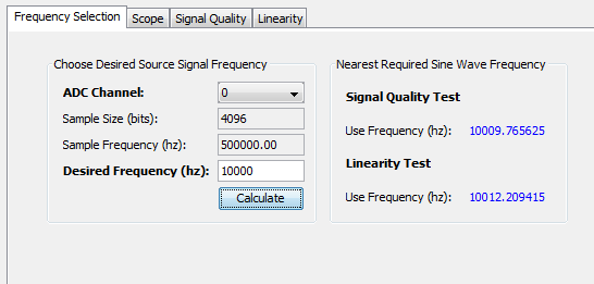QII5V3 2015.05.04 Scope Mode 10-31 Figure 10-10: Frequency Selection Panel To set the frequency of the reference signal: 1. On ADC Channel, select the ADC channel that you plan to test.